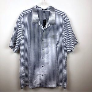 Premise Striped Button Down Short Sleeve Shirt XXL